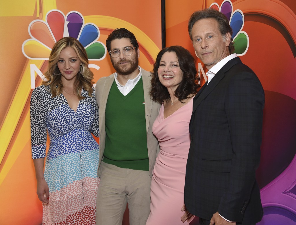 """Abby Elliott, from left, Adam Pally, Fran Drescher and Sam Weber, from the cast of """"Indebted,"""" attend the NBC 2019/2020 Upfront at The Four Seasons Ne..."""