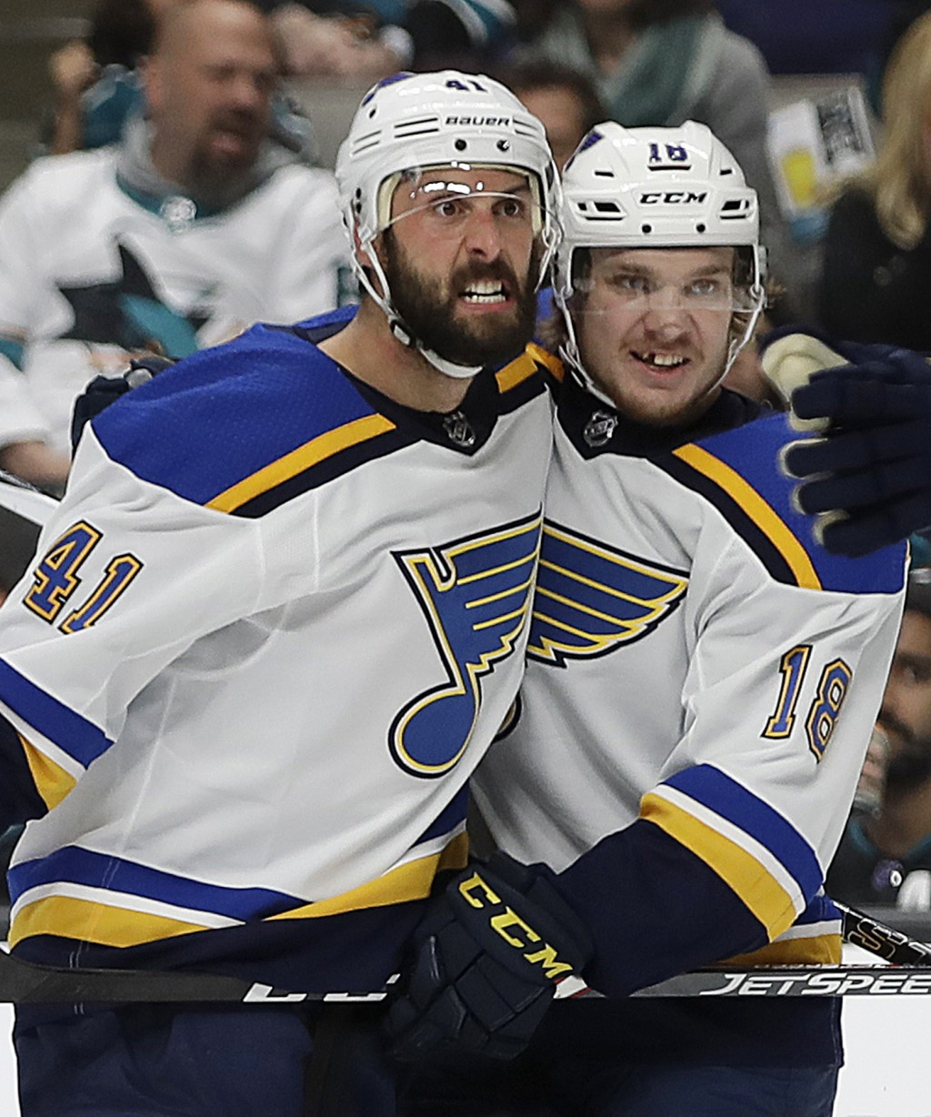 St. Louis Blues' Robert Bortuzzo, left, celebrates with teammate Robert Thomas (18) after scoring a goal against the San Jose Sharks in the second per