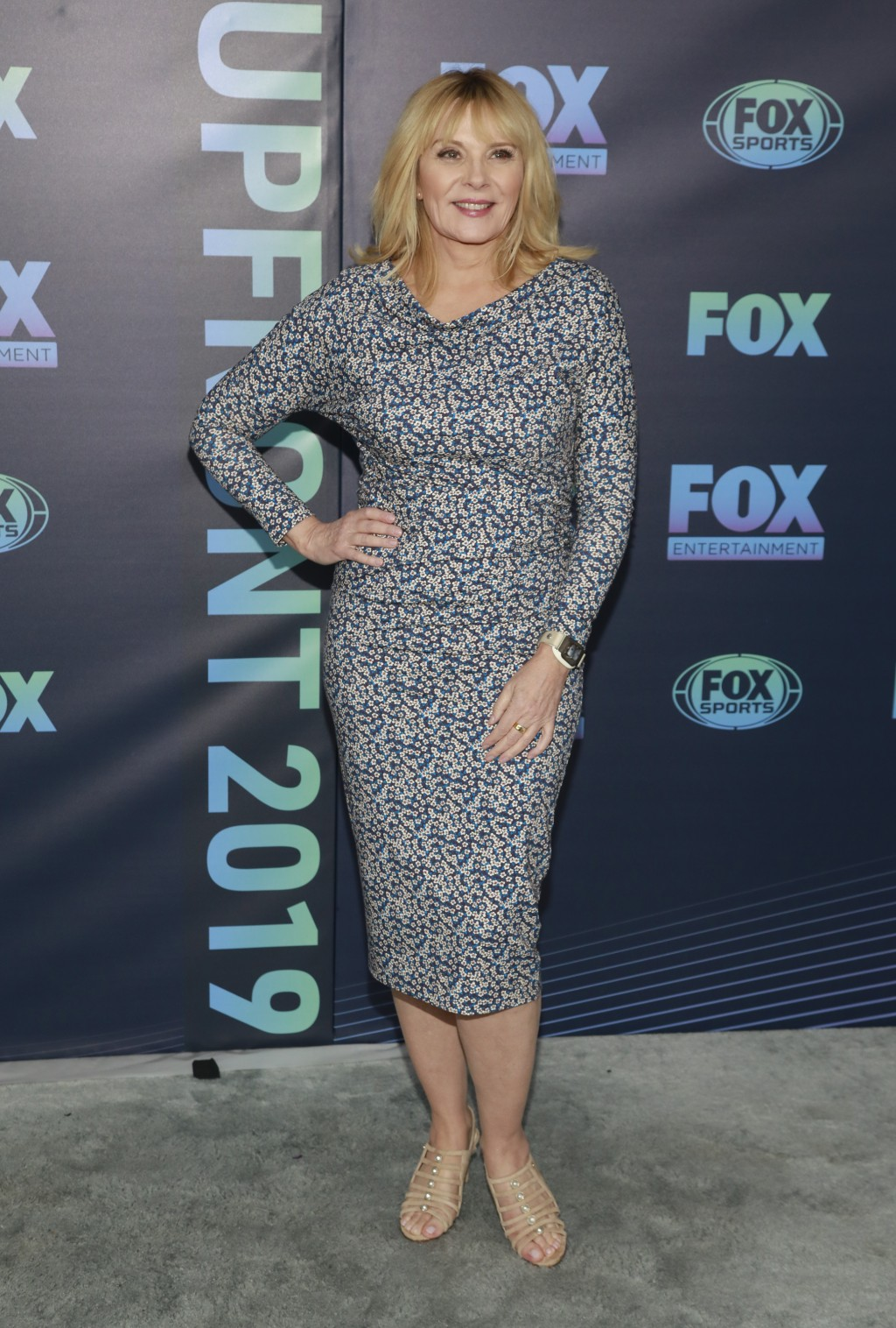 """Kim Cattrall, from the cast of """"Filthy Rich,"""" attends the FOX 2019 Upfront party at Wollman Rink in Central Park on Monday, May 13, 2019, in New York...."""