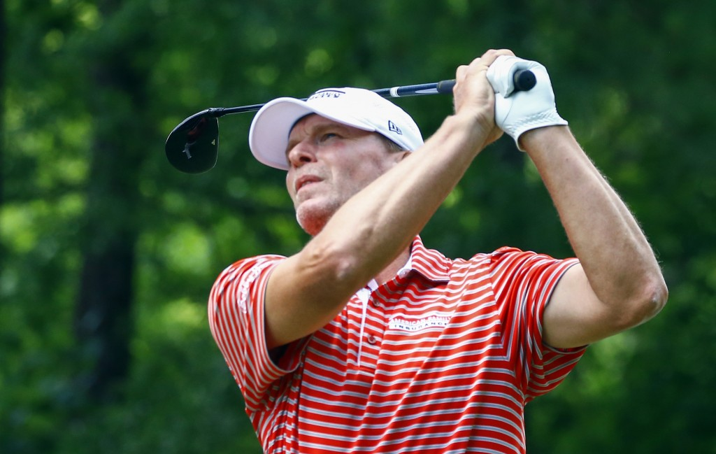Steve Stricker tees off on the 18th hole during the final round of the Regions Tradition Champions Tour golf tournament, Monday, May 13, 2019, in Birm