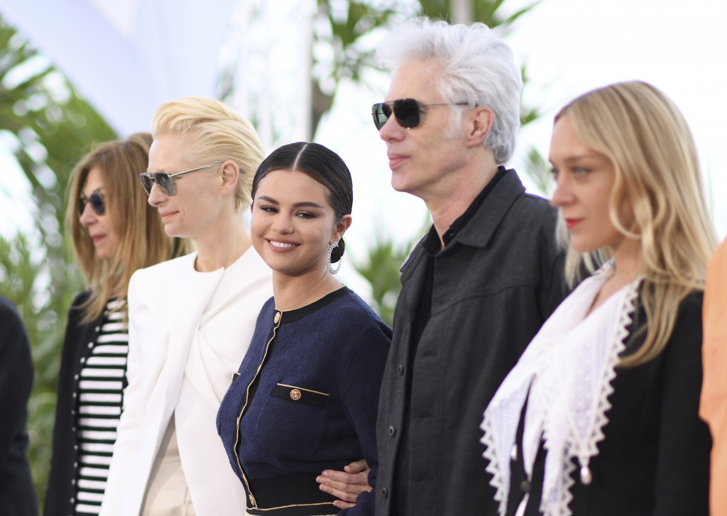 Actors Sara Driver, from left, Tilda Swinton, Selena Gomez, director Jim Jarmusch and actress Chloe Sevigny pose for photographers at the photo call f
