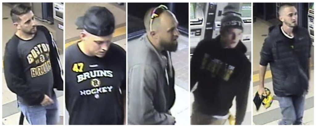 This panel of still images released through the Massachusetts Bay Transit Authority police website from Friday, May 10, 2019, surveillance video shows