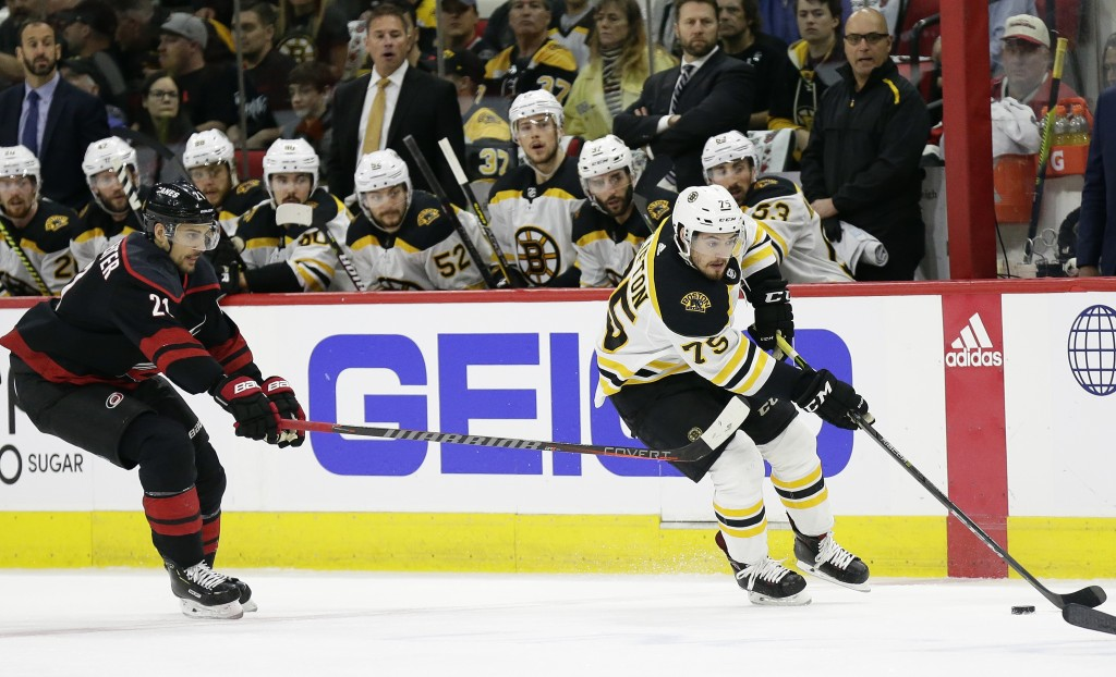 Boston Bruins' Connor Clifton controls the puck while Carolina Hurricanes' Nino Niederreiter (21), of Switzerland, defends during the first period in