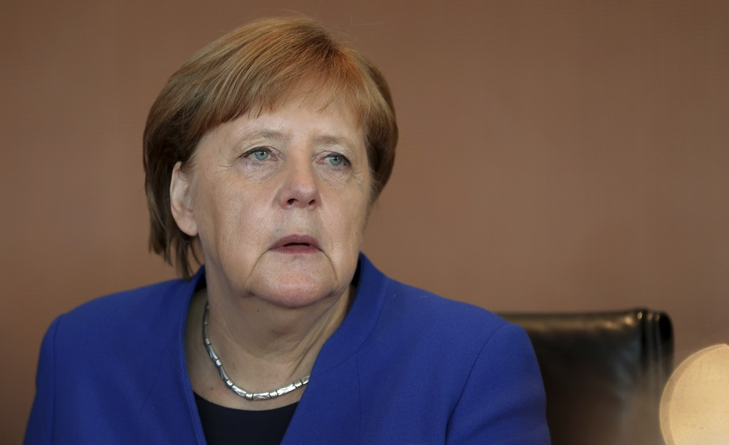 German Chancellor Angela Merkel arrives for the weekly cabinet meeting at the chancellery in Berlin, Germany, Wednesday, May 15, 2019. (AP Photo/Micha