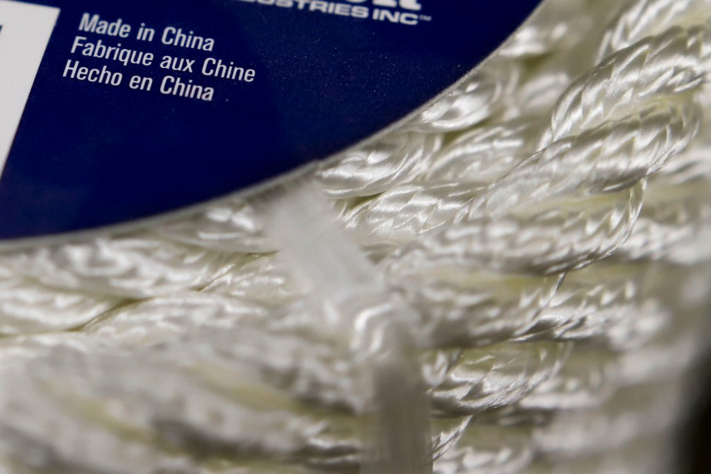 In this May 9, 2019, photo synthetic rope, with labeling indicating it was made in China, is displayed in a store in Cranberry Township, Pa. The 25% t
