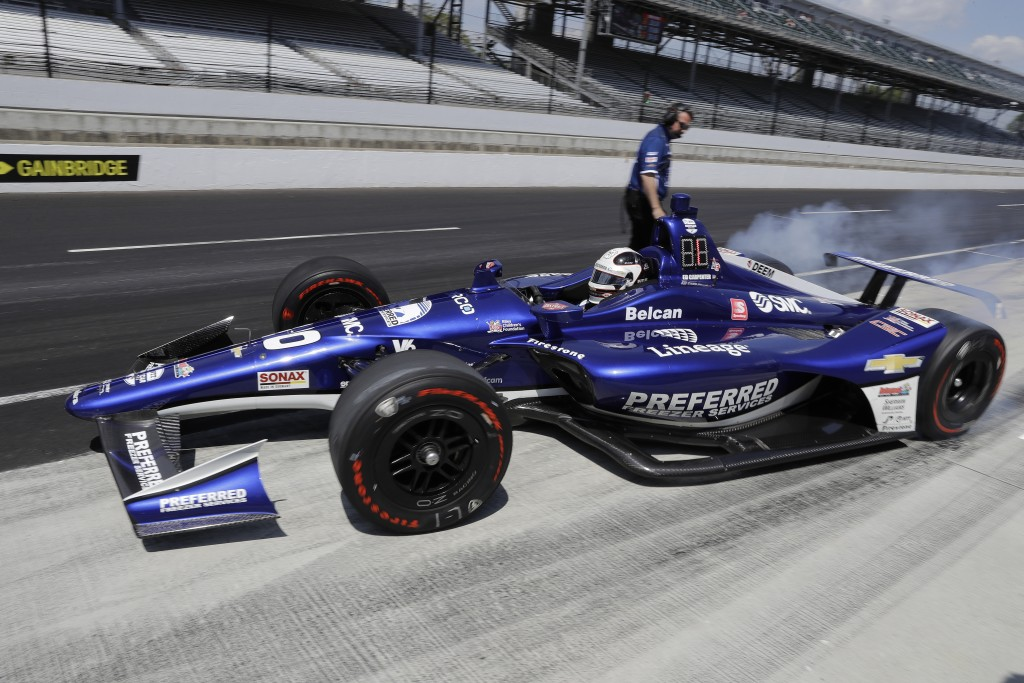 Ed Carpenter pull out of the pits during practice for the Indianapolis 500 IndyCar auto race at Indianapolis Motor Speedway, Tuesday, May 14, 2019 in