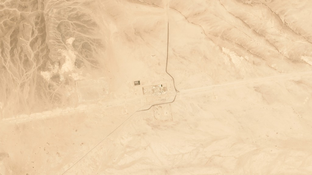 This satellite image provided by Planet Labs Inc. shows Saudi Aramco's Pumping Station No. 8 near al-Duadmi, Saudi Arabia, Tuesday, May 14, 2019, afte...