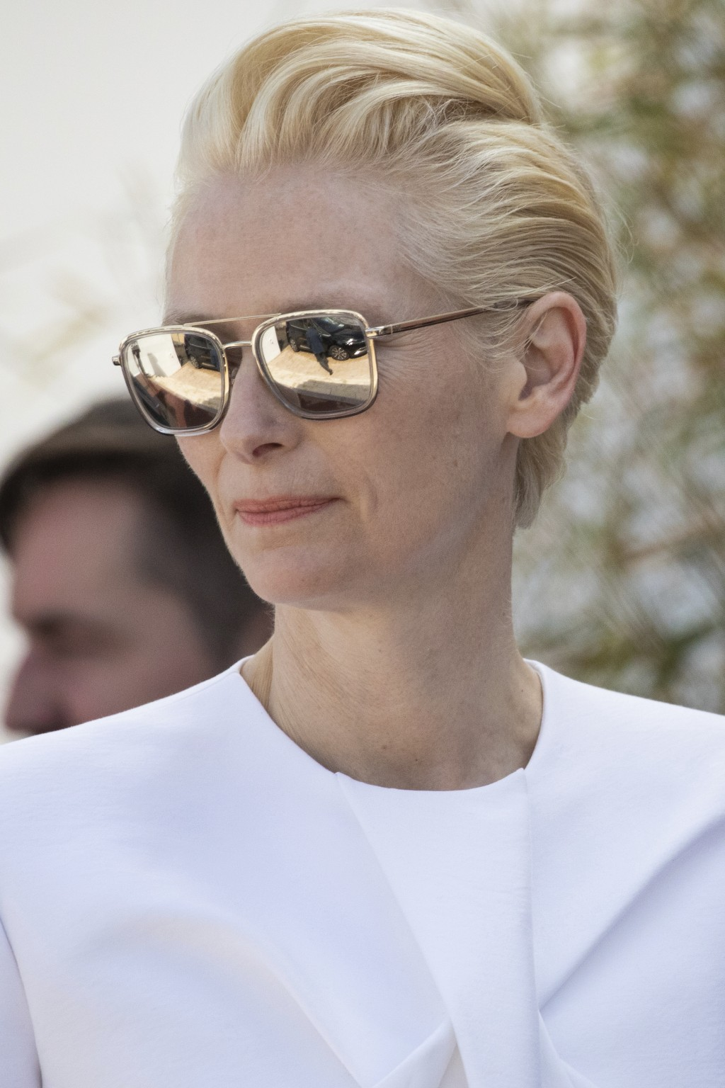 Actress Tilda Swinton poses for photographers upon arrival at the photo call for the film 'The Dead Don't Die' at the 72nd international film festival
