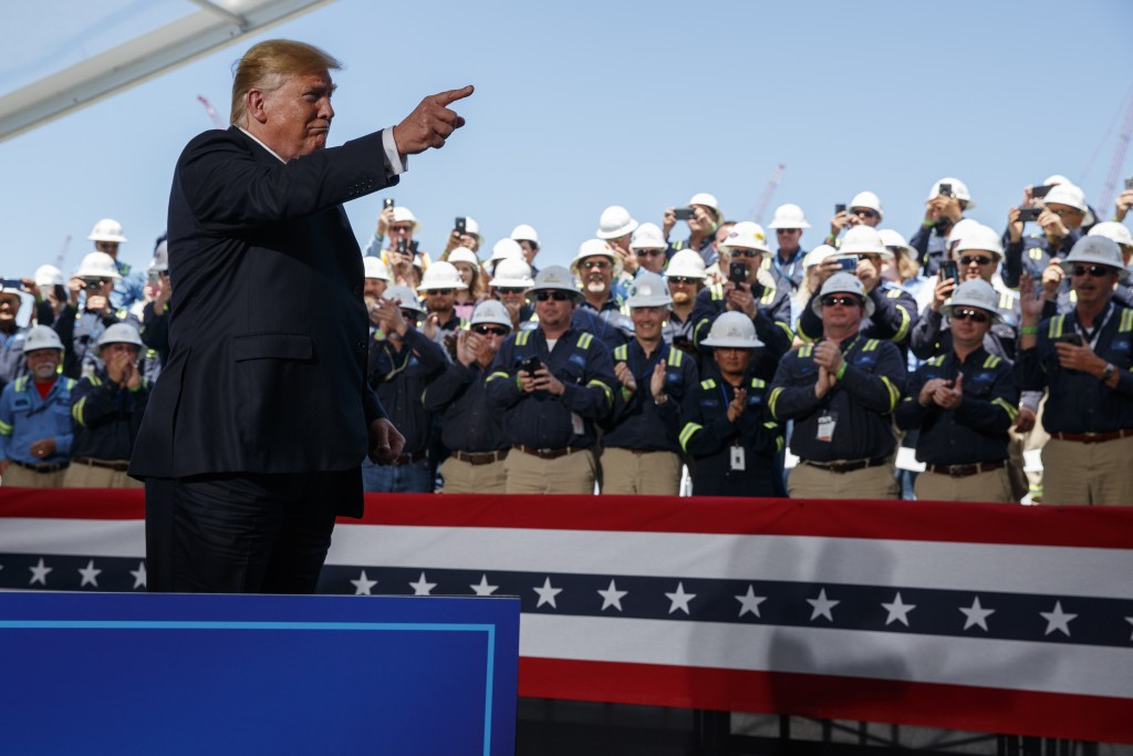 President Donald Trump arrives to speak on energy infrastructure at the Cameron LNG export facility, Tuesday, May 14, 2019, in Hackberry, La. (AP Phot...