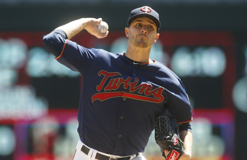 Minnesota Twins pitcher Jake Odorizzi throws against the Los Angeles Angels in a baseball game Wednesday, May 15, 2019, in Minneapolis. (AP Photo/Jim