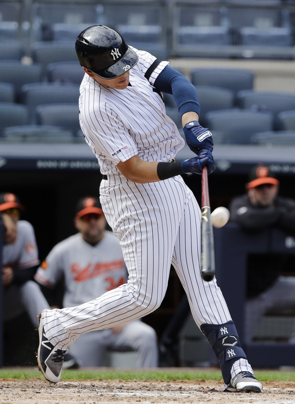 New York Yankees' Gio Urshela connects for a base hit during the fourth inning of a baseball game against the Baltimore Orioles Wednesday, May 15, 201