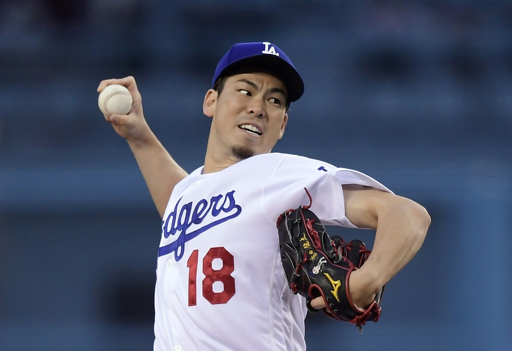 Los Angeles Dodgers starting pitcher Kenta Maeda, of Japan, throws during the first inning of the team's baseball game against the San Diego Padres on