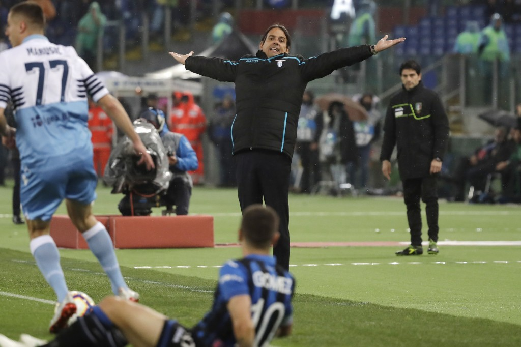 Lazio coach Simone Inzaghi gestures during the Italian Cup soccer final match between Lazio and Atalanta, at the Rome Olympic stadium, Wednesday, May
