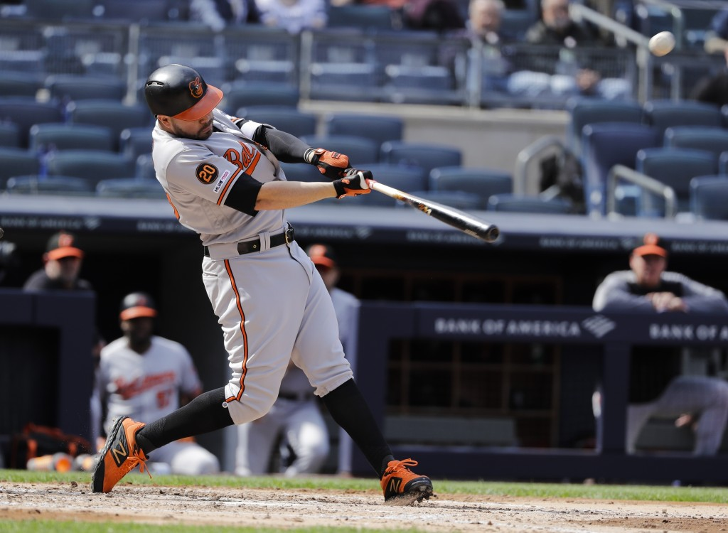 Baltimore Orioles' Renato Nunez hits a home run during the fourth inning of a baseball game against the New York Yankees Wednesday, May 15, 2019, in N
