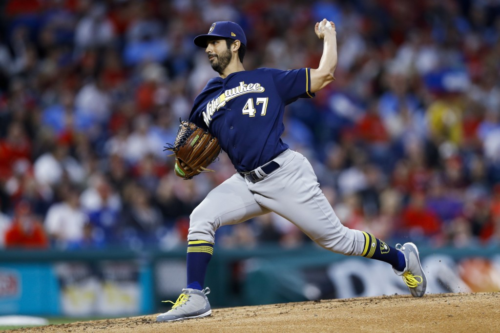 Milwaukee Brewers' Gio Gonzalez pitches during the third inning of the team's baseball game against the Philadelphia Phillies, Wednesday, May 15, 2019...