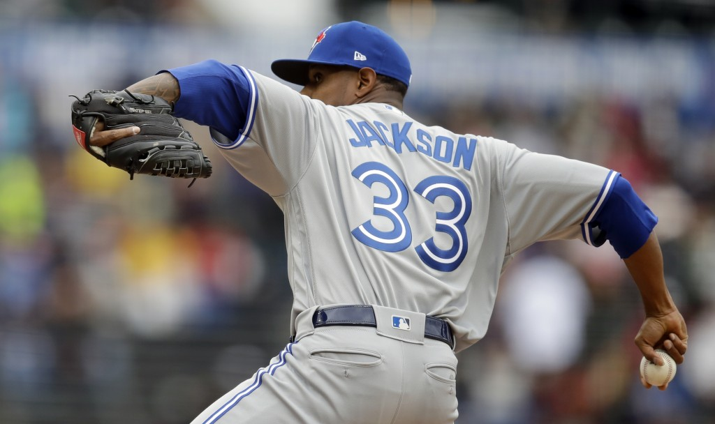 Toronto Blue Jays pitcher Edwin Jackson works against the San Francisco Giants in the first inning of a baseball game Wednesday, May 15, 2019, in San