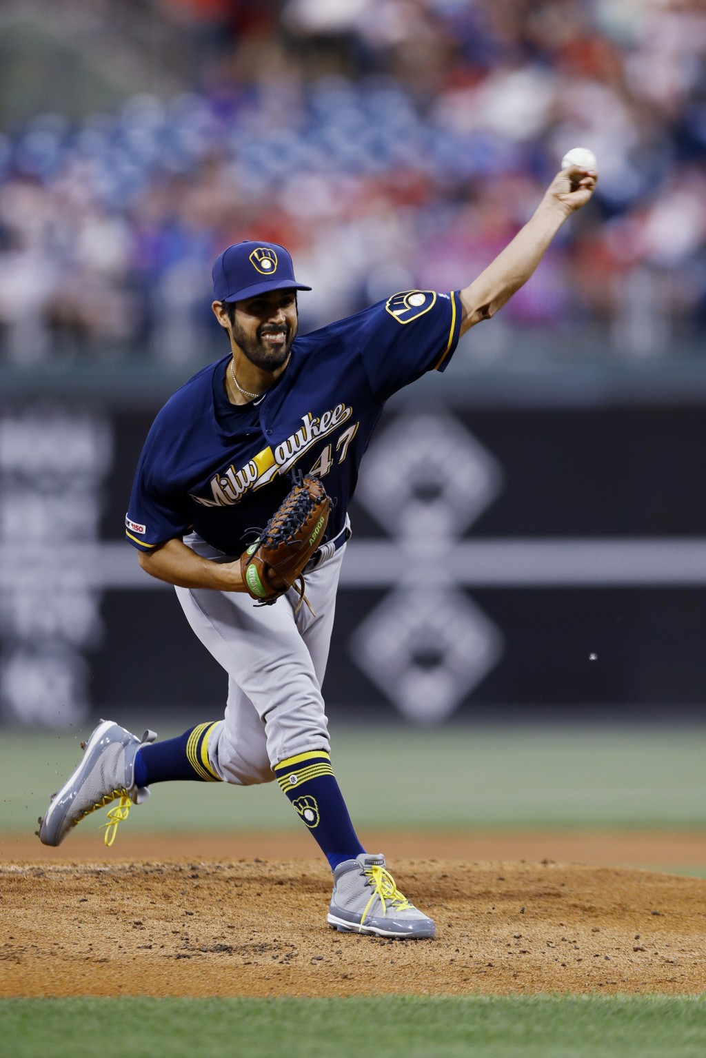 Milwaukee Brewers' Gio Gonzalez pitches during the first inning of the team's baseball game against the Philadelphia Phillies, Wednesday, May 15, 2019...