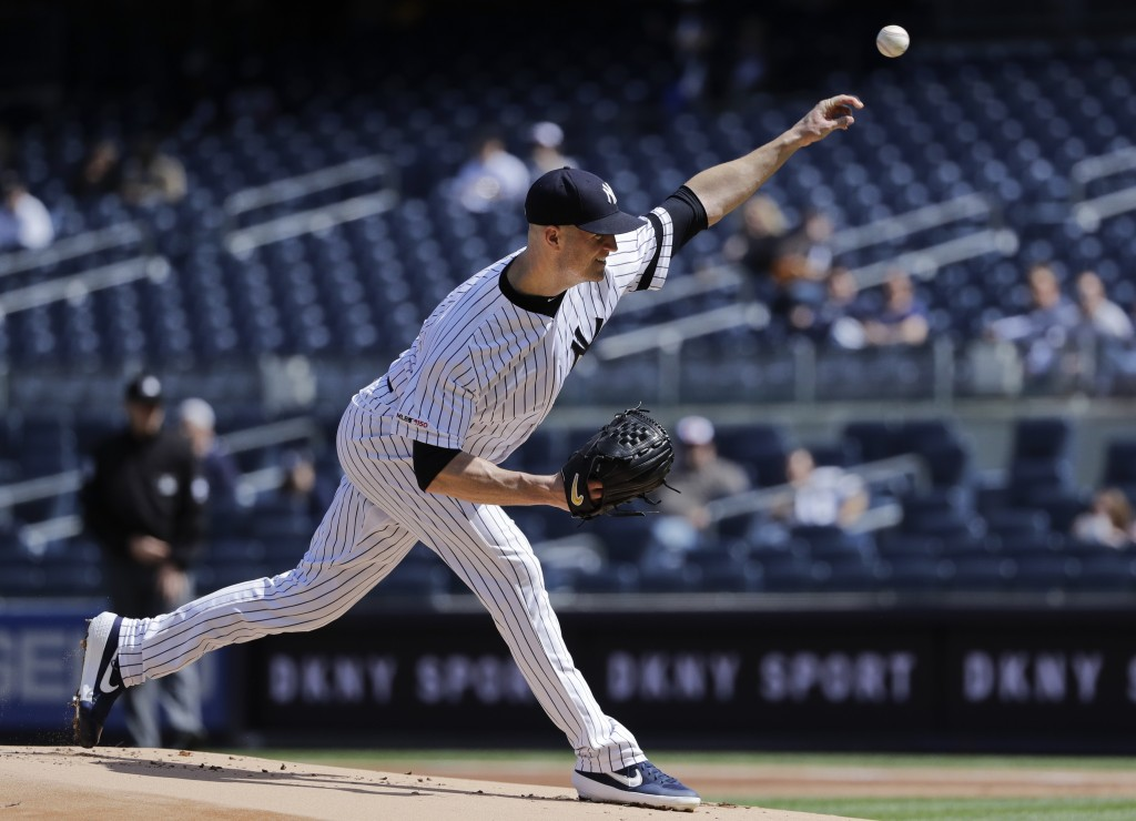 New York Yankees' J.A. Happ delivers a pitch during the first inning of a baseball game against the Baltimore Orioles Wednesday, May 15, 2019, in New