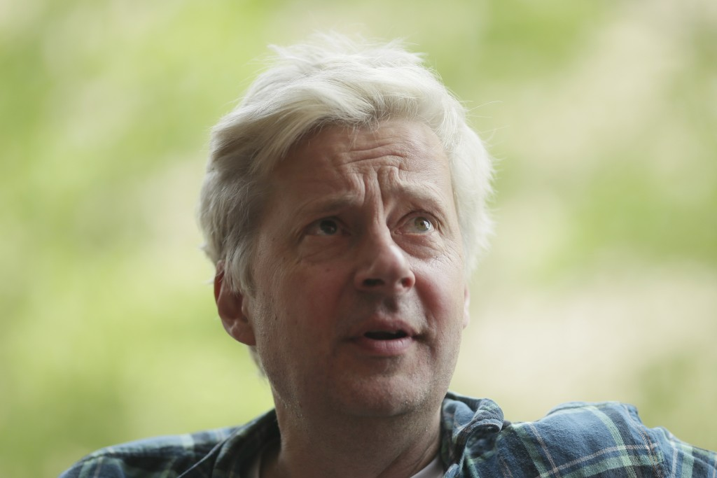 """Actor Will Barton, who plays British politician Boris Johnson in the upcoming play """"The Last Temptation of Boris Johnson"""" speaks during an interview w"""