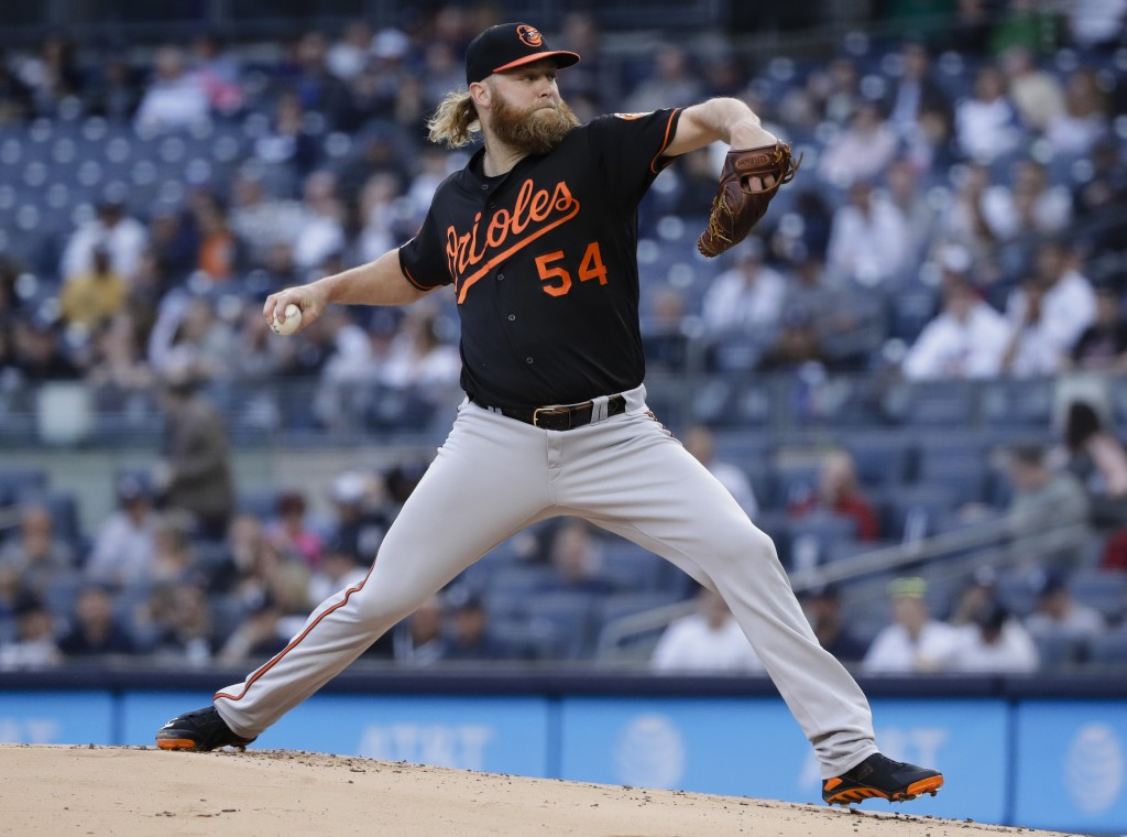 Baltimore Orioles' Andrew Cashner delivers a pitch during the first inning in the second baseball game of the team's doubleheader against the New York
