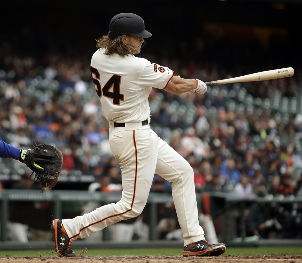 San Francisco Giants' Shaun Anderson swings for a ...