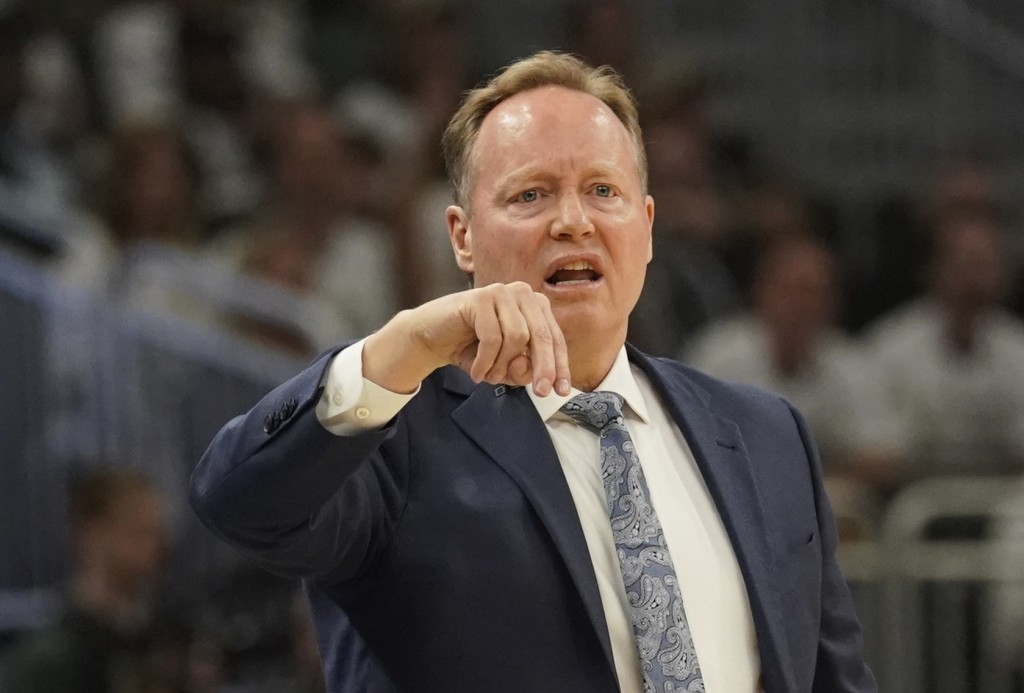 Milwaukee Bucks head coach Mike Budenholzer reacts during the first half of Game 1 of the NBA Eastern Conference basketball playoff finals against the