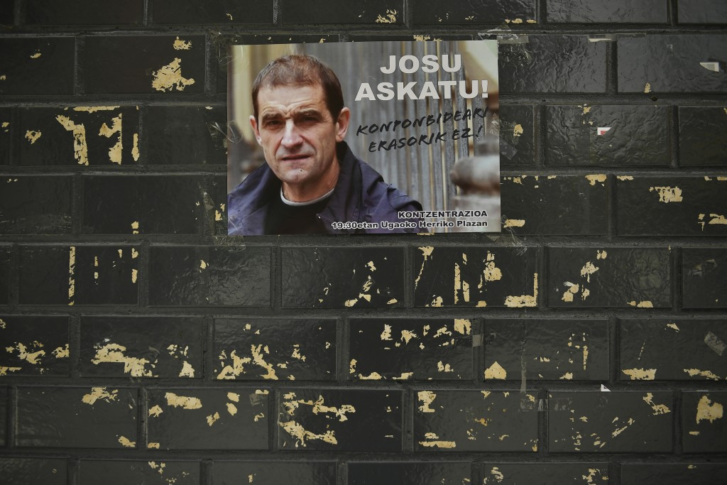 A poster with the face of Basque separatist militant Josu Ternera is attached to a wall in his home town of Ugao-Miraballes, Spain, Thursday, May 16,