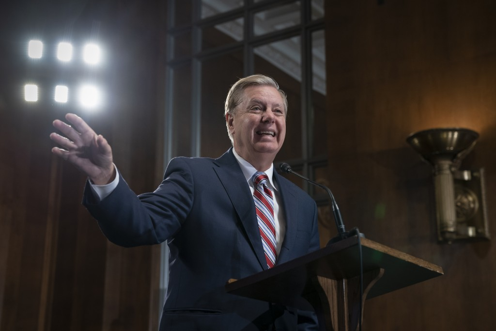 Senate Judiciary Committee Chairman Lindsey Graham, R-S.C., an ally of President Donald Trump, announces his proposal to revamp laws that affect the i...