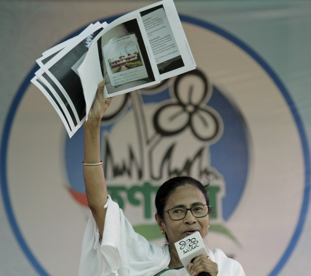 Trinamool Congress leader and Chief Minister of West Bengal state Mamata Banerjee addresses an election rally at Anchana in Mathurapur, about 60 kilom