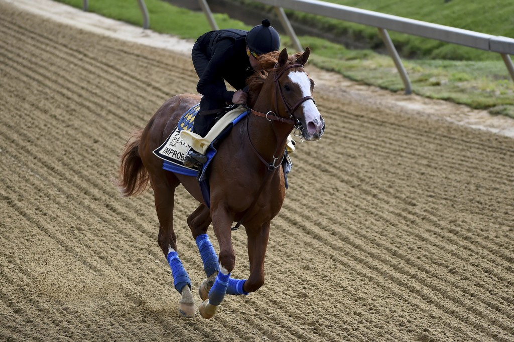 Improbable exercises in preparation for the Preakness Stakes horse race, Thursday, May 16, 2019, at Pimlico Race Course in Baltimore. The race is sche