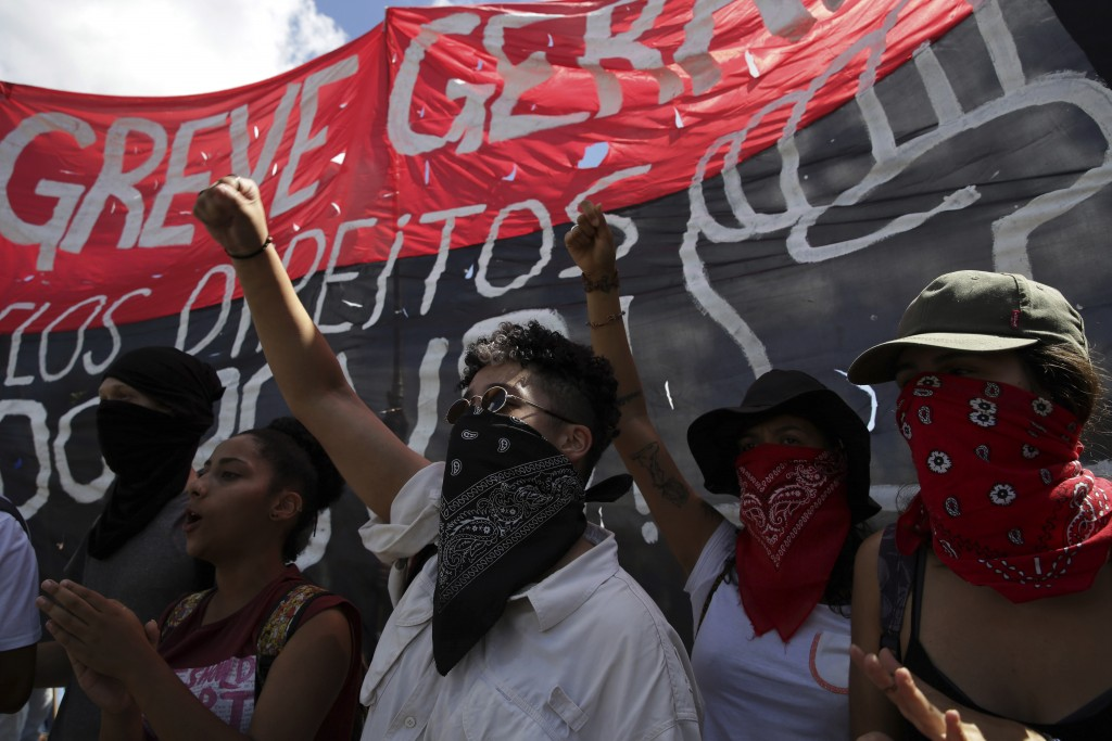 Students take part in a nation-wide education strike, in Brasilia, Brazil, Wednesday, May 15, 2019. Federal education officials this month announced b