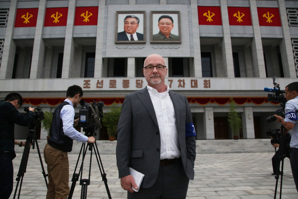 This Monday, May 9, 2016 photo shows The Associated Press' North Korea Bureau Chief Eric Talmadge in front of the April 25 House of Culture where the ...