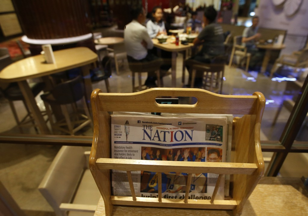 Thailand's English newspaper The Nation is display...