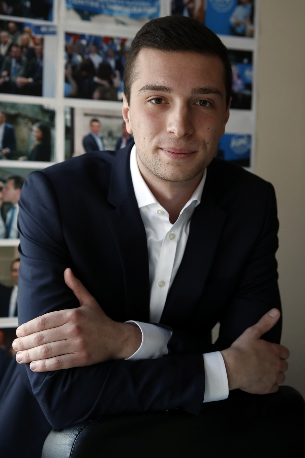 FILE - In this Wednesday, Feb. 20, 2019 file photo, Jordan Bardella, 23, poses for portrait in Nanterre, outside Paris. He joined the far right Nation