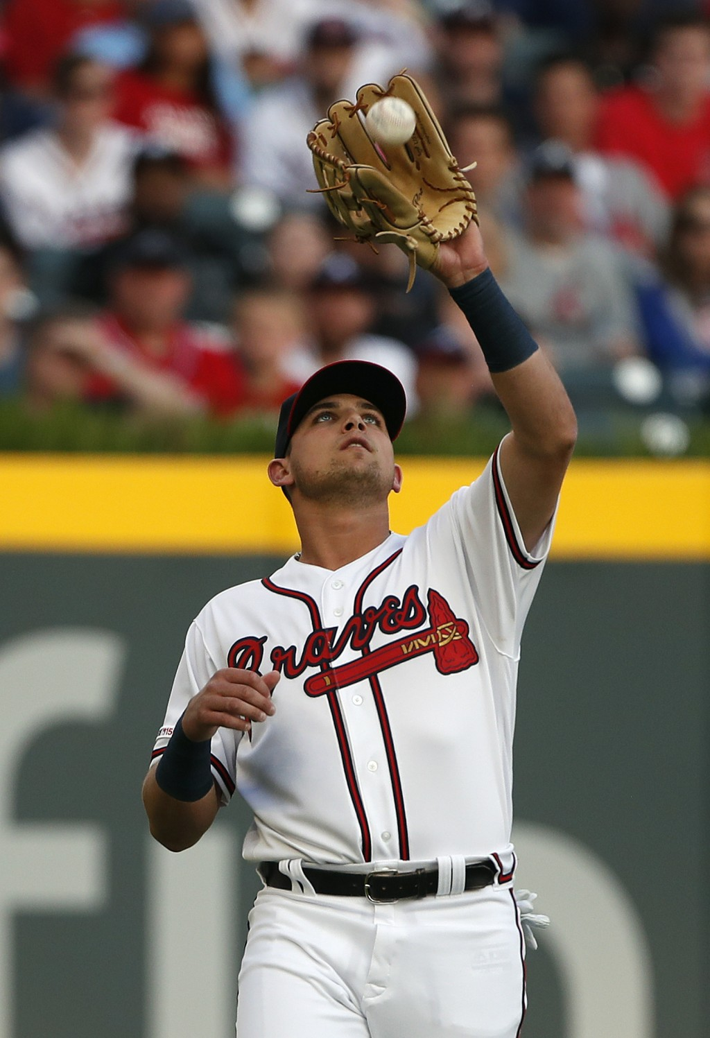 Atlanta Braves rookie left fielder Austin Riley catches a fly ball from St. Louis Cardinals' Marcell Ozuna in the second inning of a baseball game Wed...