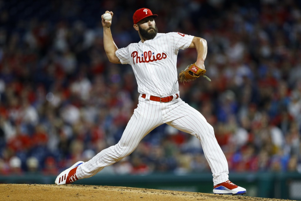 Philadelphia Phillies' Jake Arrieta pitches during the fourth inning of a baseball game against the Milwaukee Brewers, Wednesday, May 15, 2019, in Phi...
