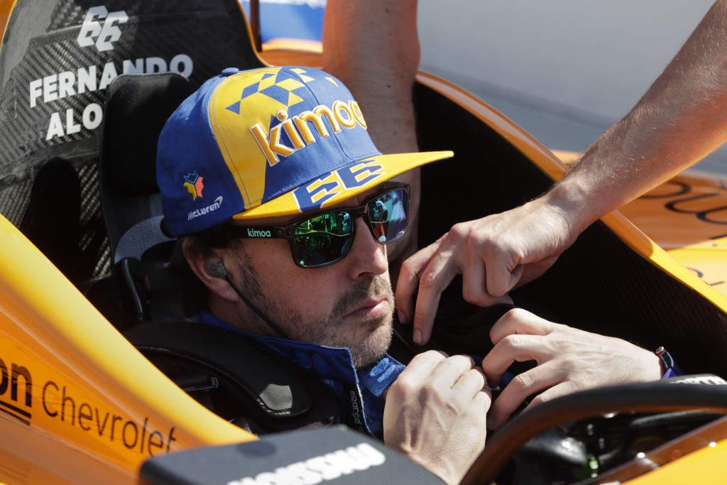 Fernando Alonso, of Spain, prepares to drive during practice for the Indianapolis 500 IndyCar auto race at Indianapolis Motor Speedway, Wednesday, May...