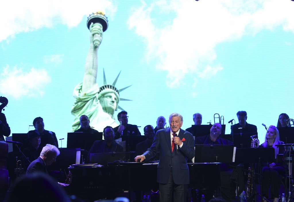 Singer Tony Bennett performs at the Statue of Liberty Museum opening celebration at Battery Park on Wednesday, May 15, 2019, in New York. (Photo by Ev