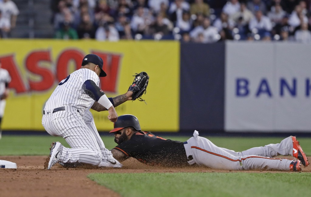 New York Yankees' Gleyber Torres, left, tags out Baltimore Orioles' Jonathan Villar during the sixth inning in the second baseball game of a doublehea