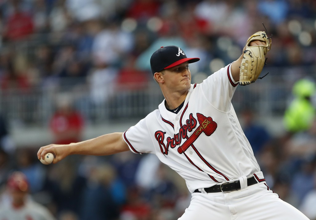 Atlanta Braves starting pitcher Mike Soroka (40) works against the St. Louis Cardinals in the first inning of a baseball game Wednesday, May 15, 2019,...
