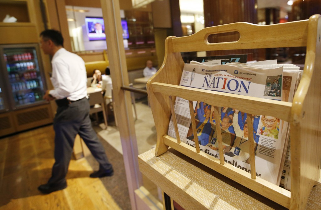 Thailand's English newspaper The Nation is displayed in a cafe in a hotel in Bangkok, Thailand, Thursday, May 16, 2019. The management of The Nation -...