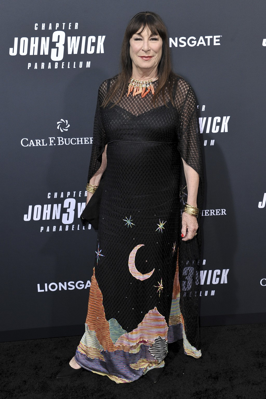 "Anjelica Huston attends a special screening of ""John Wick: Chapter 3 - Parabellum"" at the TCL Chinese Theatre on Wednesday, May 15, 2019, in Los Angel"