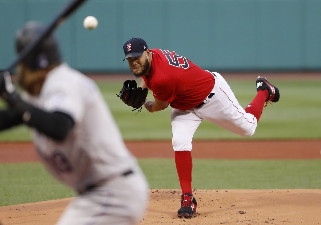 Boston Red Sox starting pitcher Eduardo Rodriguez delivers against the Colorado Rockies during the first inning of a baseball game Wednesday, May 15,