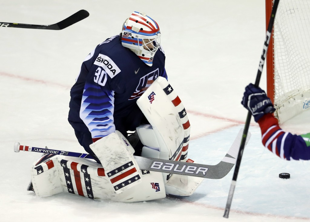 Goaltender Thatcher Demko of the US after failing to make a save during the Ice Hockey World Championships group A match between the United States and