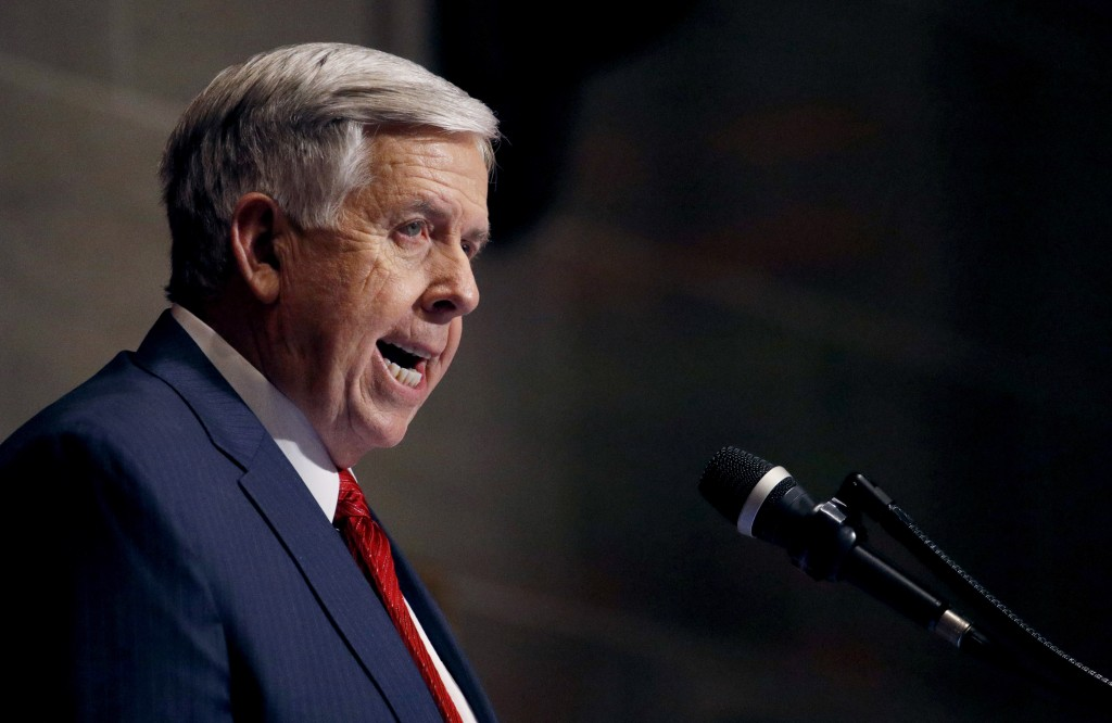 FILE - In this Jan. 16, 2019, file photo, Missouri Gov. Mike Parson delivers his State of the State address in Jefferson City, Mo. Missouri's Republic