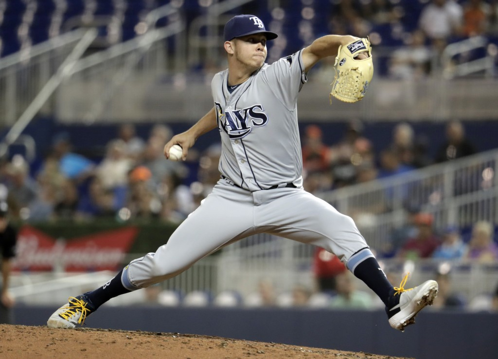 Tampa Bay Rays reliever Emilio Pagan throws during the fifth inning of the team's baseball game against the Miami Marlins, Wednesday, May 15, 2019, in