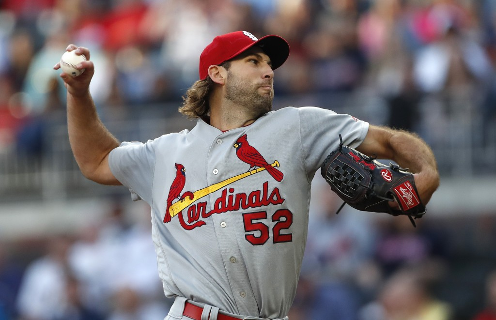 St. Louis Cardinals starting pitcher Michael Wacha (52) works against the Atlanta Braves in the first Inning of a baseball game Wednesday, May 15, 201