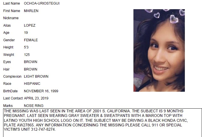 CORRECTS VICTIM'S LAST NAME TO OCHOA-LOPEZ INSTEAD OF OCHOA-URIOSTEGUI - This undated Chicago Police missing person flier shows Marlen Ochoa-Lopez. Oc