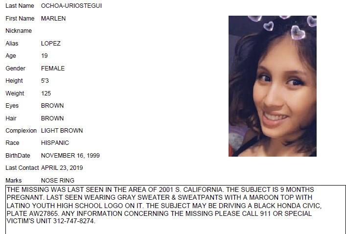 CORRECTS VICTIM'S LAST NAME TO OCHOA-LOPEZ INSTEAD OF OCHOA-URIOSTEGUI - This undated Chicago Police missing person flier shows Marlen Ochoa-Lopez. Oc