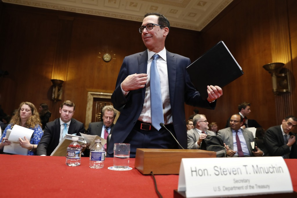 Treasury Secretary Steve Mnuchin gets up after testifying about the budget during a Financial Services and General Government subcommittee hearing, We